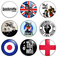"""9 Mod 25mm 1"""" Pin Button Badges The Who Jam Scooter Retro Combo Set"""