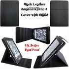 BLACK LEATHER SKIN CASE COVER WITH STAND for AMAZON KINDLE 4 4TH WIFI GENERATION