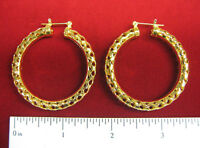 """MADE IN USA - 14KT Gold Plated Filigree Hoop Pincatch Earrings - Approx 1-5/8"""""""