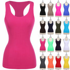 Seamless Basic Tank Top Sleeveless Gym Stretchable Racerback Layering ONE SIZE