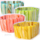 NEW Women BLUE YELLOW PINK GREEN Wide BRACELET MOTHER of PEARL SHELL SHELLS Bead