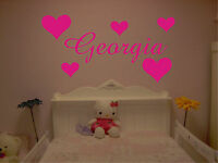 PERSONALISED NAME & HEARTS WALL ART STICKER, DECALS girls bedroom