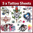 5 x Sheets Party Pack of Skull Boys Temporary Tattoos
