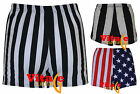 Womens girls high waisted striped shorts ladies vertical stripe party hotpants