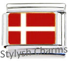 DENMARK DANISH FLAG Enamel Italian Charm 9mm - 1 x PE041 Single Bracelet Link