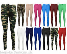 NEW LADIES SKINNY FIT COLOURED STRETCHY JEANS WOMENS JEGGINGS TROUSERS SIZE 8-26