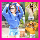 New Womens Knitted Hoodie Sweater Jumper Top