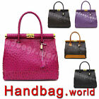 Genuine Italian Ostrich Print Real Leather Satchel Bag Shoulder Handbag Italy