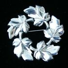 Vintage Signed BARCLAY Silvertone LEAVES WREATH Pin Brooch