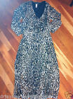 JONES NEW YORK SIZE MED 3/4 SL BLEND TAN BLACK ANIMAL PRINT BLOUSE LONG SKIRT