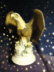 Lefton China Porcelain Eagle Brown White Statue Figurine Hand Painted KW6705