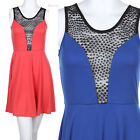Sleeveless Half Solid Polka Dot Laced Upper Open Back Mini Cocktail Party Dress