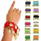 1 Pair  8 colors for chose Coin Belly Dance Arm Cuffs Wrist Bracelets
