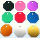 Pet ID Tags, Quality 28mm Octagon Shaped Tag .ENGRAVED FREE on Both Sides + Ring