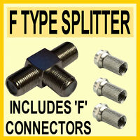 2 Way Coax T Splitter & 3 'F' Connectors for DIGITAL TV CABLE- Quality - K01