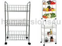 3 TIER VEGETABLE FRUIT RACK WITH WHEELS CHROME STORAGE TROLLEY STAND