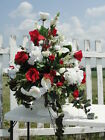 Church Wedding Home Decor Red White Large Silk Floral Rose Arrangements High End