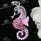 1PC Silver Plate Pink Enamel Crystal Sea Horse Pendant For Necklace Fashion