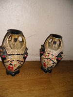VINTAGE PAIR OF EMBOSA WARE ENGLAND CYPLES OLD POTTERY VASES