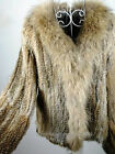 100% Real Knitted Rabbit Fur Coat Jacket Raccoon Trim Collar Outwear Cardigan