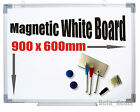 MAGNETIC DRY WIPE WHITE BOARD NOTICE 900 X 600MM 3 PENS ERASER LARGE QUALITY