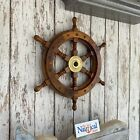 "12"" Ships Wheel ~ Wood / Brass ~ Wooden ~ Pirate Captain ~ Nautical Maritime"