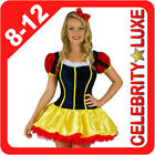 New Ladies Snow White Costume S M L 8 10 12 Fairy Tale Fancy Dress Red Head Band