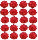 20 Resin Cabochon Flowers 15mm x 8mm Red Dahlias