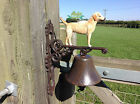 Cast Iron Yellow Labrador Dog Decorative Gate Post Garden Bell XDOCS