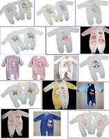 Baby boy girl unisex velour sleepsuit all in one romper kitty lion NB 0-3-6-9 M