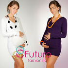 In Vogue Women's Maternity Jumper Dual V- Neck Tunic Sweater Button FR06
