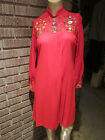 Women's Vintage 60's 70's Red Wool Knit Embroidered Neckline Pleats Dress M