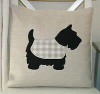 Laura Ashley Natural Austin Cushion Cover with Scottie Dog Applique