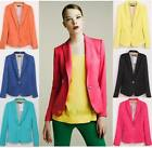 Womens Candy Color Casual slim One Button Tunic Foldable sleeve Blazer Jacket