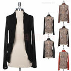 Womens Solid Front Mesh Back Long Sleeve Open Cardigan Side Pockets Casual