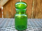 Vintage Belgium Green Glass Apothecary Jar w/Bubble Top Marked
