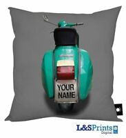 """GREEN & GREY PERSONALISED SCOOTER DESIGN CUSHION 18"""" X 18"""" IDEAL GIFT HOME DECOR"""
