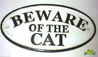 Cast Iron Beware of The Cat Fence Post Garden Sign YCBOS