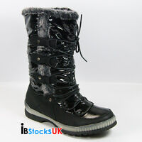 Ladies Womens Fur Lined Mid Calf Winter Snow Boots Size 3 4 5 6 7 8 101708 Black