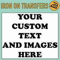 CUSTOM IRON ON T SHIRT TRANSFER PERSONALISED TEXT QUALITY PRINTS ANY NAME PRINT