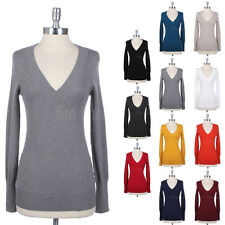 Women's V Neck Long Sleeve Pullover Warm Cotton Tunic Top KNIT Sweater S M L