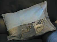 Hand Sewn Recycled Jeans Denim Patchwork Cushion Cover 58x40cm (Ref-Fronts)