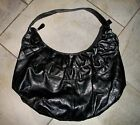 Black Leather-like Ruffle Front Tote Extra Large Handbag Purse