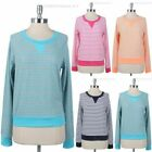Cotton Striped Crewneck Sweater Top Long Sleeve Sweatshirt Casual Comfortable