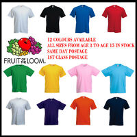 Fruit of the Loom Childrens T-Shirt - Cotton - 12 Cols Kids Shirt