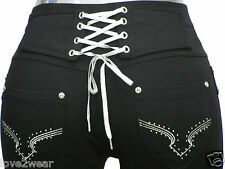 NEW Ladies Stretchy Black Fashion Lace Up Skinny Jeans Jeggings Leggings 8 - 16