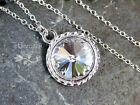 Ice Crystal & Sterling Silver Necklace- clear rivoli stone - April birthstone