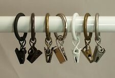 "Urbanest 10PK Metal Curtain Drapery Rings w/ Clips & Eyelets,Fits up to 3/4"" rod"