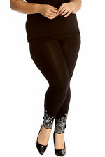 New Womens Plus Size Nouvelle Laser Cut Sequin Full Length Leggings With Hole