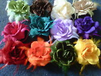 "5"" 12 cm HAIR ROSE FLOWER CORSAGE MANY COLOURS 3 IN 1 ELASTIC CLIP PIN"